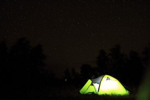 tent tourism starry sky