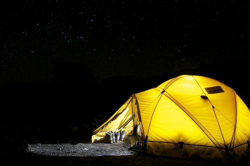 tent camp night