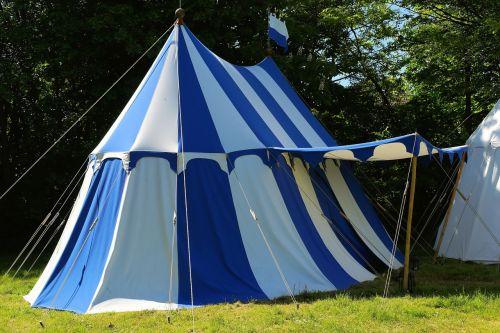 tent ritterzelt blue white