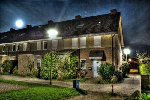 terraced house hdr night