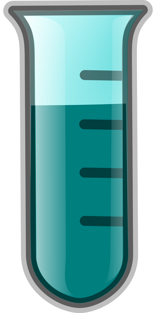 test tube liquid blue