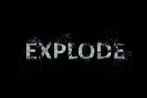 explode text scattering