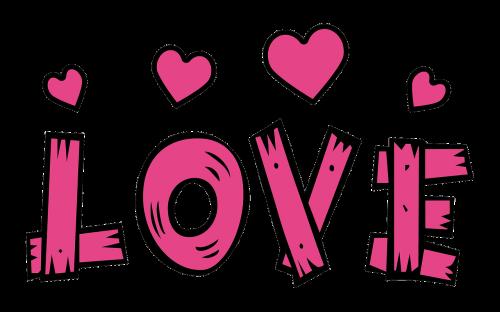 text love hearts