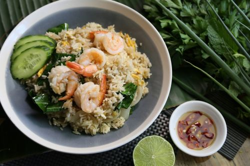 thai fried rice prawn fried rice thai food