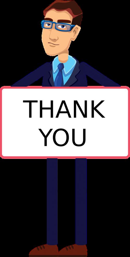 thank you animated character gentleman