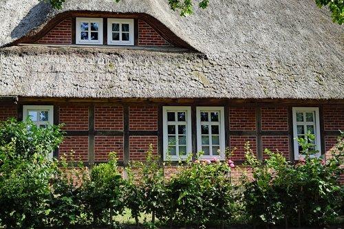 thatched cottage  lüneburg heath  house