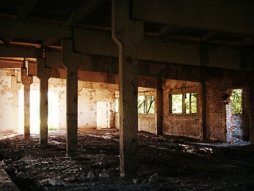 the abandoned house building