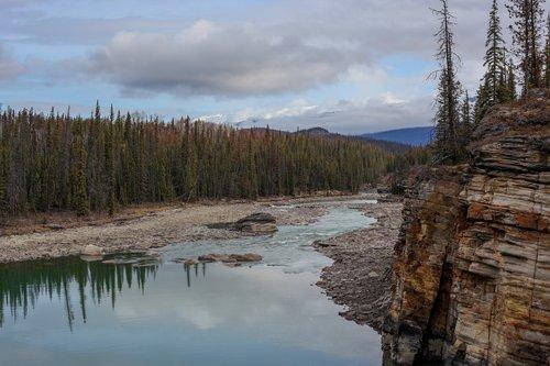 the athabasca river  canada  lake
