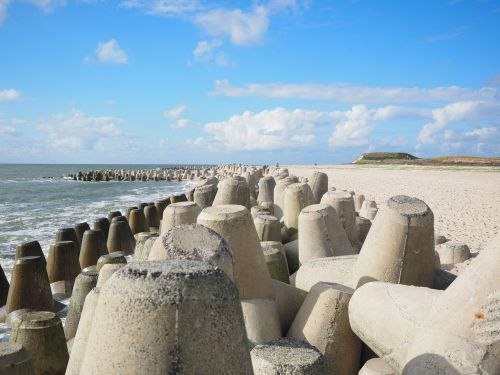 the beach fixing tetrapods concrete