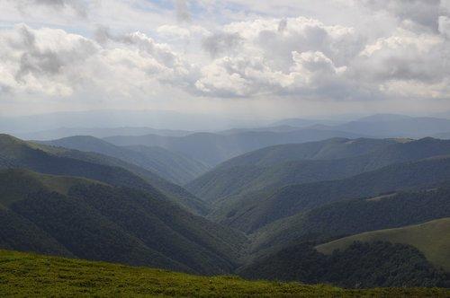 the carpathians  mountains  clouds