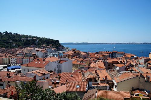 the city of piran the roofs of the houses sea