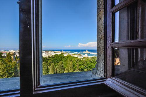 sala, Viduržemio jūros, langas, vaizdas, miestas, jūra, graikų kalba, Rhodes, pilis, miesto panorama, vasara, saulėtas, mėlynas & nbsp, dangus, graži, vista, vaizdingas, Rodo miestas, Graikija