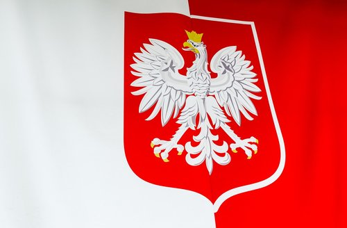the coat of arms of poland  flag of poland  white-red