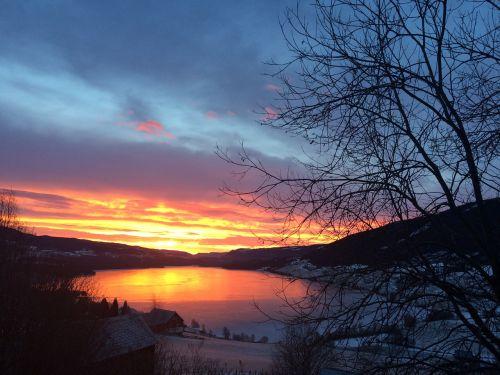 aušros, saulėlydis, pobūdis, niekas, lauke, panorama, Norvegija, Valdres, volbufjordenas, fjordas, dangus, debesys, norvegų fjordas, oppland, be honoraro mokesčio