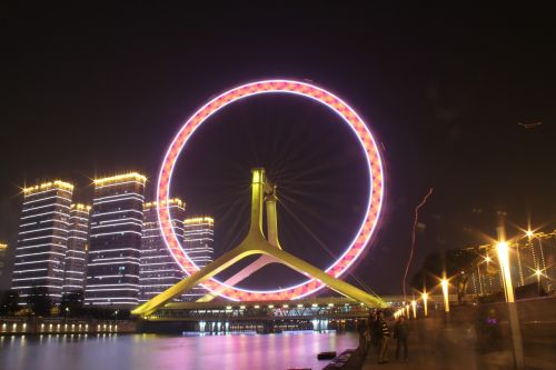 the ferris wheel tianjin the night