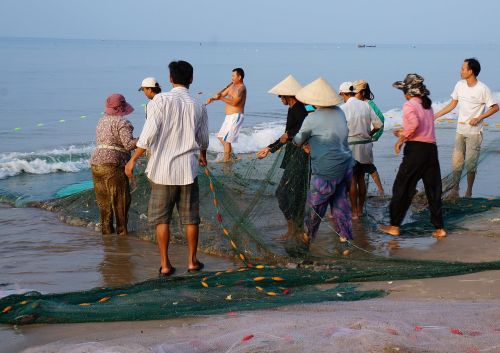 the fishing village drag-net the sea
