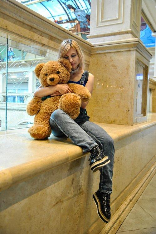 the girl with the teddy bear  teddy bear  toy