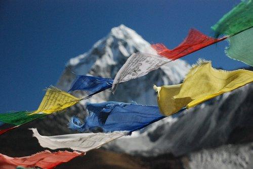 the himalayas  nepal  prayer flags