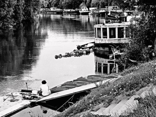 the river seine seine the barge