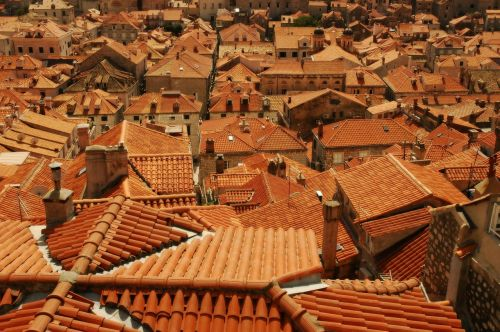 the roofs tiles red