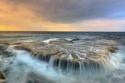 the sea the waterfall ocean waves