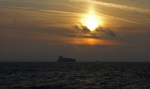 the ship sea sunset