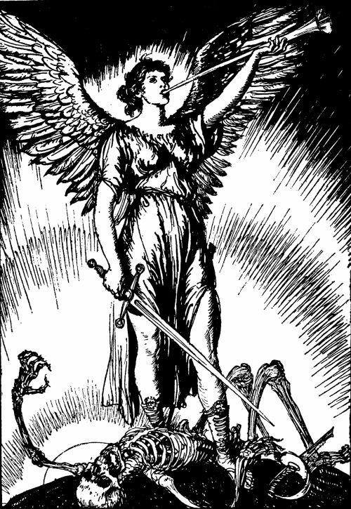 vintage, iliustracija, juoda & nbsp, balta, piešimas, victorian, senas & nbsp, madingas, angelas, angeliškas, sparnai, Kardas, karys, nugalėti, mirtis, skeletas, koncepcija, trimitas, skelbti, heraldas, skelbti, skelbimas, nužudyti, Slayer