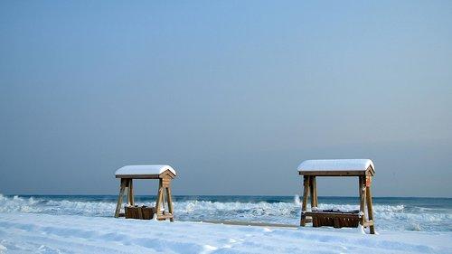 the snow came back  swing  jiangmen beach