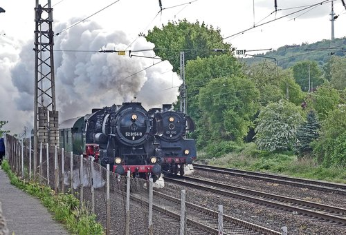 the steam spectacle in 2018  steam locomotive  parallel travel