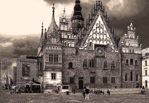 the town hall wrocław the market