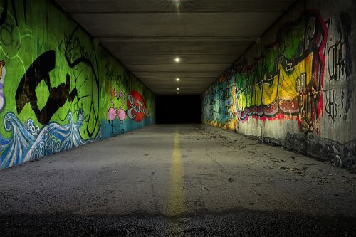the tunnel underpass graffiti was