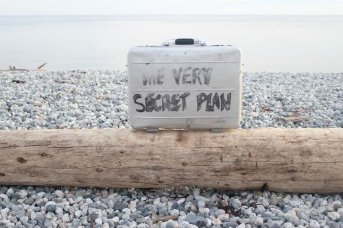 the very secret plan briefcase message log on beach