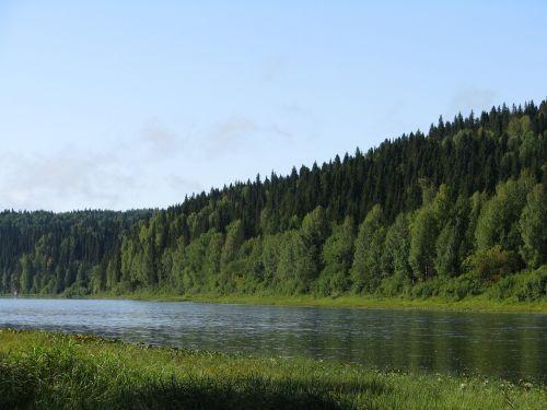 the vishera river blue sky forest