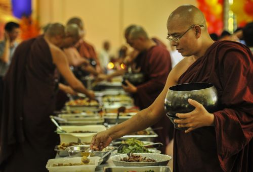 theravada buddhism monk having lunch sayadaw