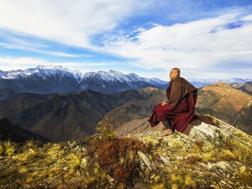 theravada buddhism monk at mountain monk at himalaya