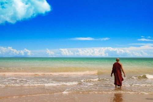 theravada buddhism monk at beach beach