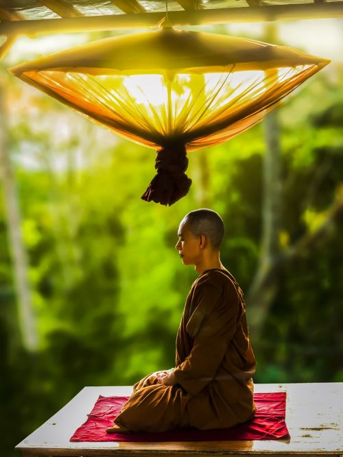 theravada buddhism monk meditating
