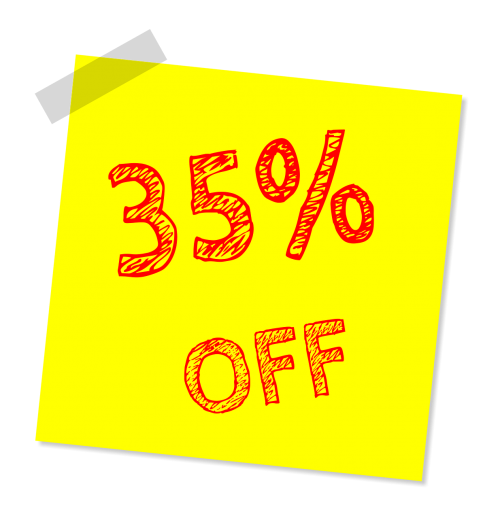 thirty five percent off discount sale