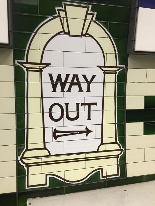 this way out way out sign