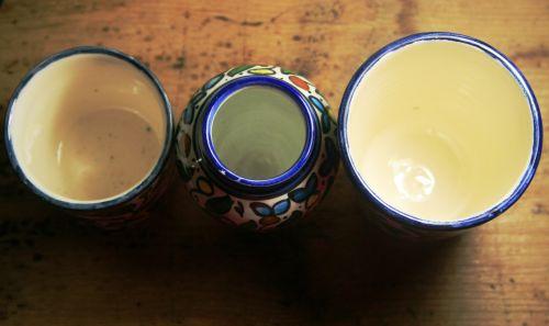 Three Blue Edged Bowls