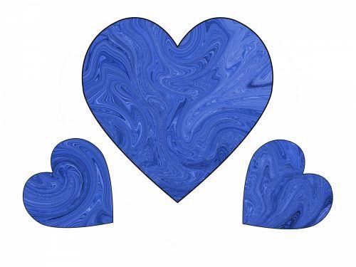 Three Blue Swirl Hearts 1