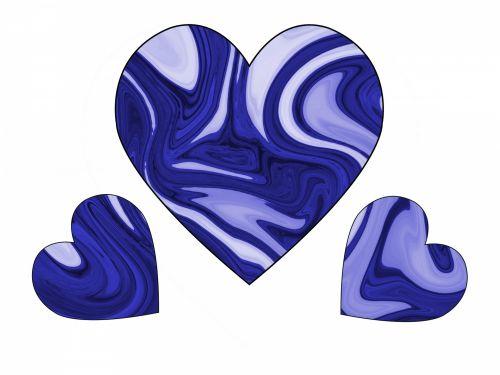Three Blue Swirl Hearts 2