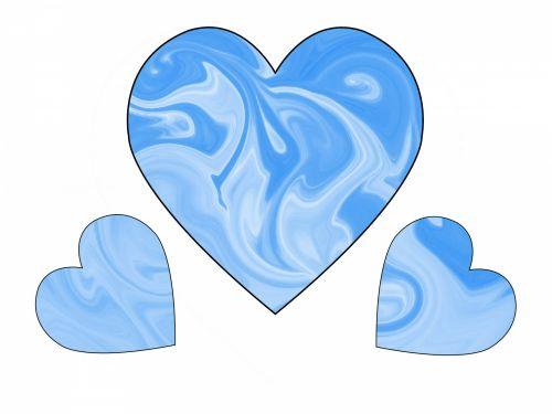 Three Blue Swirl Hearts