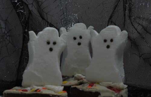 Halloween, vaiduoklis, vaiduoklis, cupcake, cupcakes, maistas, desertas, Zefyras, voratinklis, juoda, tortas, saldainiai, saldainiai, balta, trys vaiduokliai cupcakes