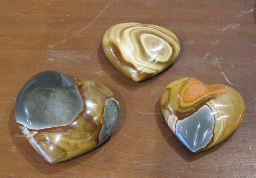 three hearts stones rocks