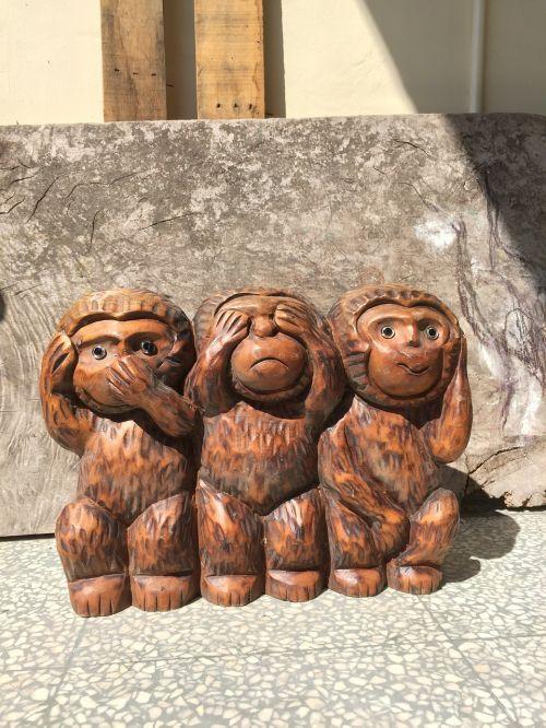 three monkeys monkey wood head