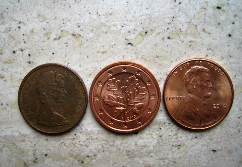 three similar money tees canadian cent euro-cent