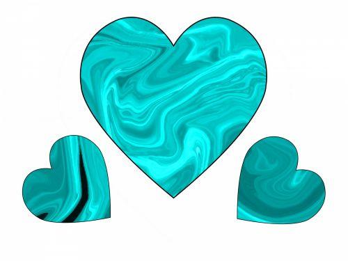 Three Turquoise Swirl Hearts 1