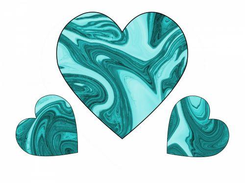 Three Turquoise Swirl Hearts 2