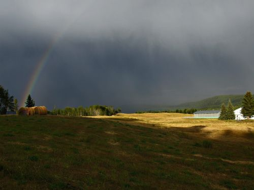 thunderstorm rainbow field